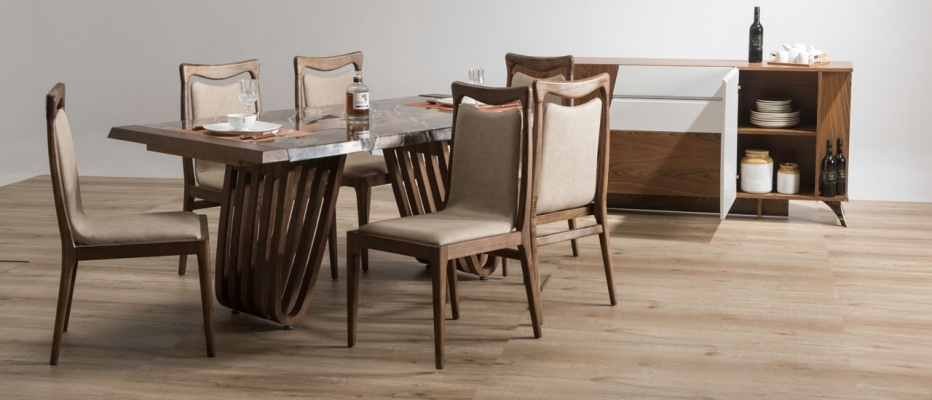Buy Hopkins Marble Dining Set For 6 | Dining Sets Online | Durian