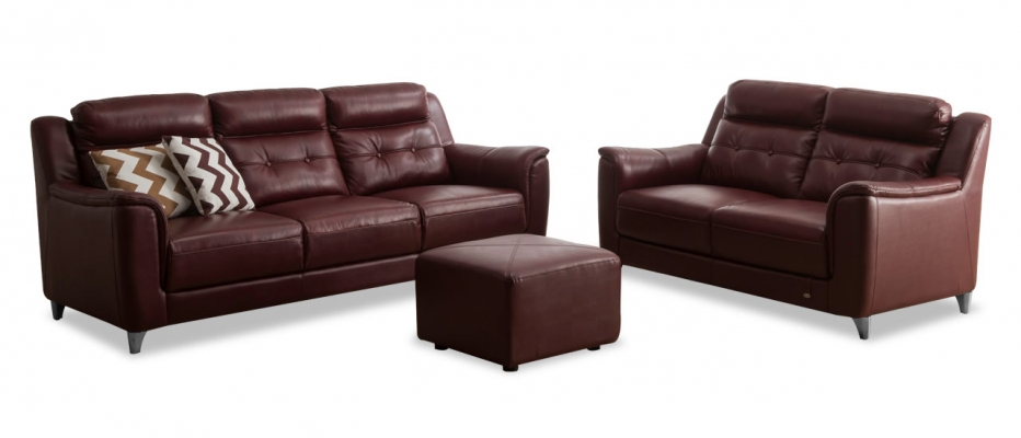 Buy Patrick 3 2 Seater Red Leather Sofa Set Online At Durian