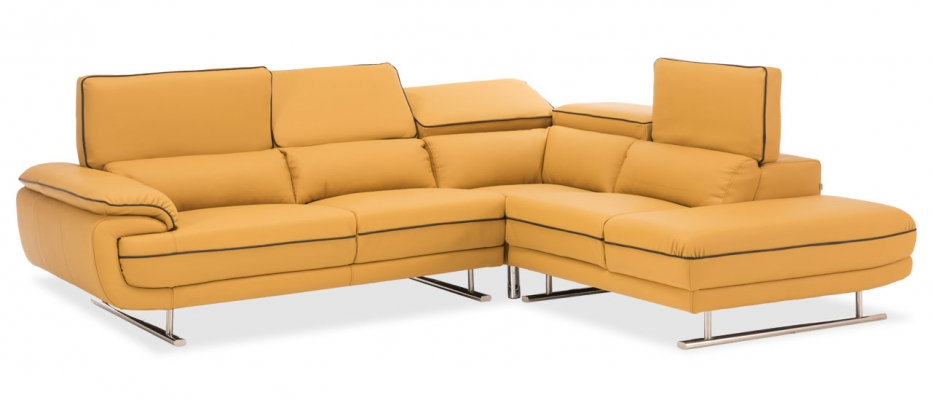 Jasper L Shape 5 Seater Sofa Online | Buy Yellow Luxurious Sofa From Durian
