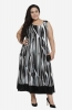 Sleeveless Monochrome Casual Maxi  Dress with Contrast hemline