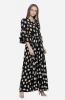 Casual Black Floral Maxi Dress with V Neck and Angel Sleeves