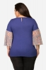Women's Blue Semi-casual Top with Geometric Printed Bell Sleeves