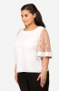 White Top with Pink Lace Sleeve