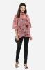 Pink Choker Neck Long Sleeves Printed Flared Casual Top