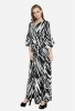 Casual Asymmetrical Design Maxi Dress with V Neck and Angel Sleeves