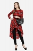 Asymmetric High Low Casual Checked Top