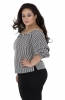 Black & White Striped Ruffled Sleeve Off Shoulder Top