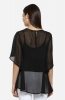 Black Solid Round Neck Flared Top