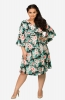 Tropical Print Casual Wrap-around Dress with Flounce Sleeves