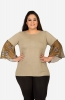 Women's Snuff Semi-casual Top with Soild Bell Sleeves