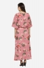 Formal Boat Neck Floral Print Pink Maxi Dress with Angel Sleeves