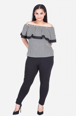 Stripe Ruffle Off Shoulder Top