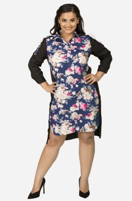 Shift Floral Print Dress with Collar