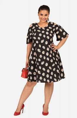 Cold shoulder printed Flare sleeve dress