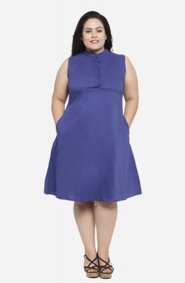 Casual A-line Monochrome Plus Size Dress with Mandarin Collar