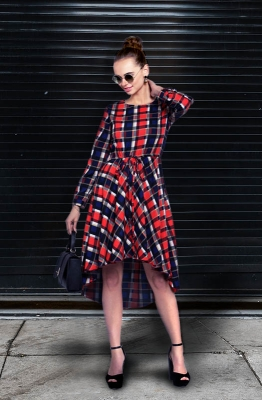 Casual Multi-Checkered Short Dress with a High and Low Hemline and Long Sleeves