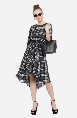 Casual Black, Grey and White Checkered Short Dress with a High and Low Hemline and Long Sleeves