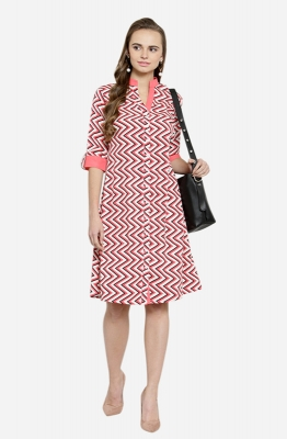 Afamado Zigzag Striped Shirt Dress