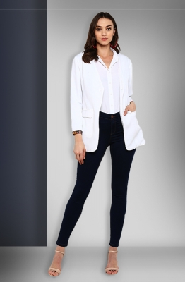 White Long-Sleeve Single-button Formal Blazer