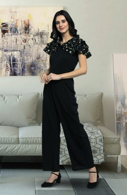 Black Casual Jumpsuit with Contrast Tropical Print Ruffle Cape at the Back