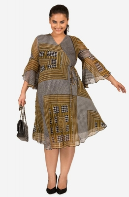 Casual Asymmetrical Print Wrap Tie Waist Fit and Flare Dress
