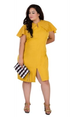 Straight-fit Schiffli Detail Casual Dress