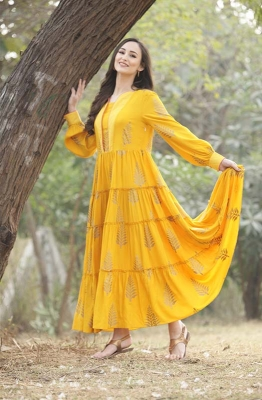 Sun-kissed Yellow Tiered Gown with Dupatta