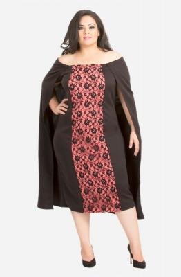 Lace Detail Cape Dress