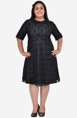 Lace Overlay Fit and Flare Dress