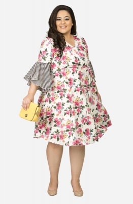 Floral Print Fit and Flare Dress with Stripe Ruffle Sleeves