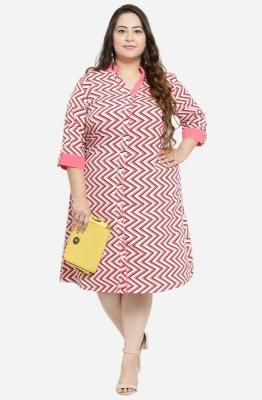Afamado Zigzag Striped Shirt Dress