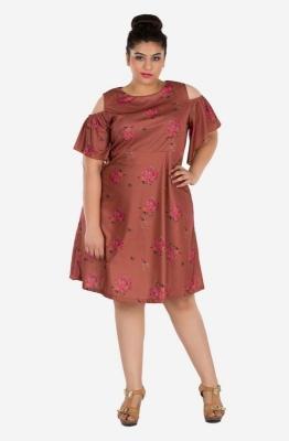 Elegant Floral Cold Shoulder Dress