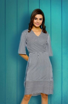 Black & White Striped V-neck Casual Dress