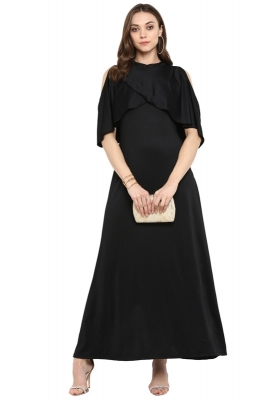 Formal Solid Maxi Dress with Layered Cape