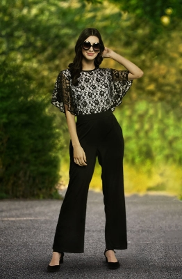 Black Contrast Lace Bodice Party Jumpsuit