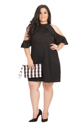 Black Cold-Shoulder Ruffle Party Dress