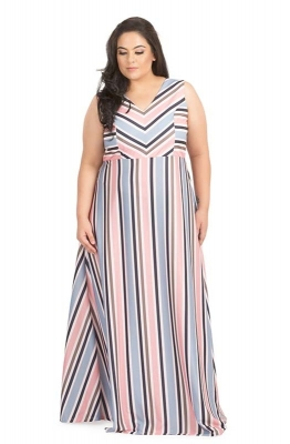 Variegated Stripe Casual Maxi Dress
