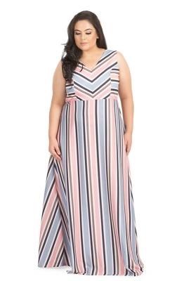 Variegated Stripe Casual Maxi Dress