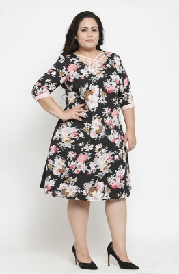 Tropical Print A-line Casual Dress
