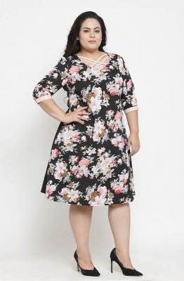 Tropical Print A-line Casual Dress
