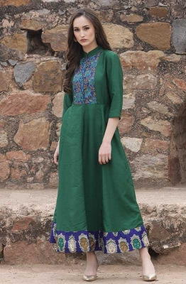 Green Self-Design Maxi Dress