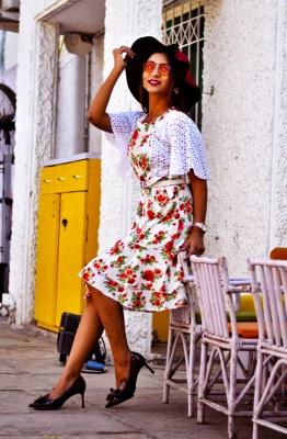 Ruffled Sleeve Floral Dress