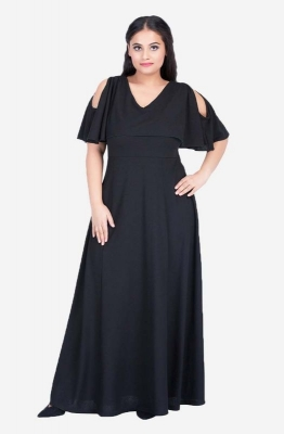 V-Neck Cold Shoulder gown