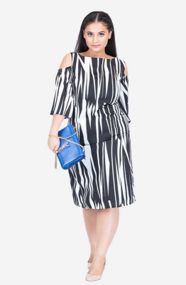 Cold-shoulder Monochrome Dress