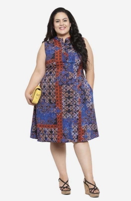 Multicolored A-line Abstract Party  Dress with Pockets