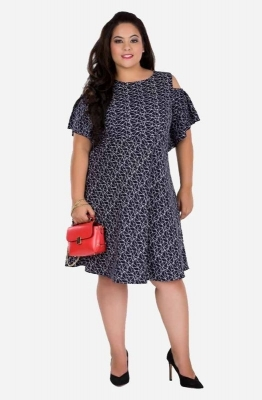 Quirky Print Cold Shoulder Dress