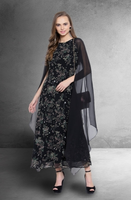 Casual Floral A-Line Dress with Cape Sleeves