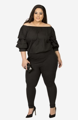 Black Off-Shoulder Ruffled Casual Top