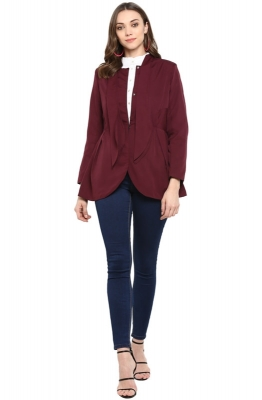 Tie-neck Long Sleeve Peplum Party Jacket