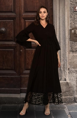 Solid Formal Maxi Dress with Lace Hemline